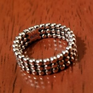 STERLING SILVER TRIPLE BEAD ETERNITY PINKY RING